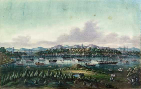 Two fine Rice paper paintings: the harbour view and Race with dragon boats - photo 2