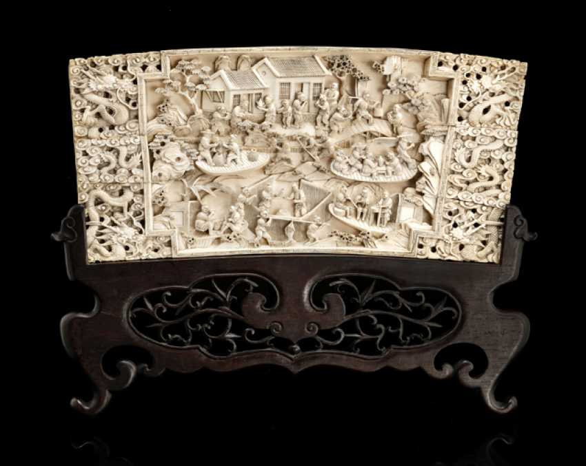 Ivory carving of a lively village scene - photo 1