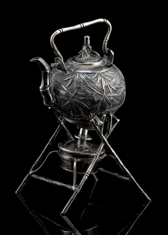 Three-piece miniature model of a teapot with Stöfchen and Stand made of silver - photo 1