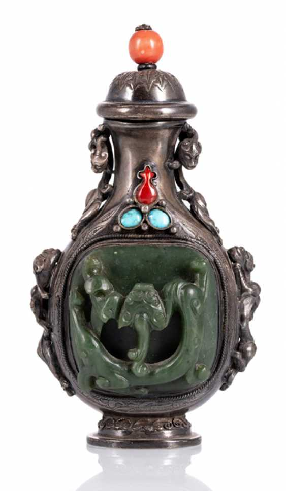 Large table bottle silver with Jade, turquoise and coral inlays - photo 1