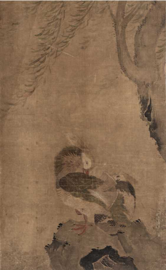 Fan picture with a sheet of bamboo painting and an anonymous painting with ducks - photo 1