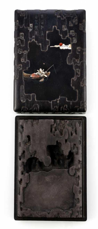 Tuschreibestein in a fine wood box with inlays - photo 1