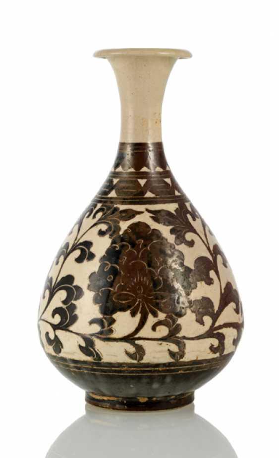 'Cizhou'Vase 'Yuhuchun Form with geritztem peonies decor - photo 1