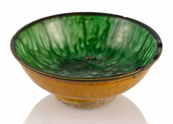 Small brown-green glazed bowl - photo 1