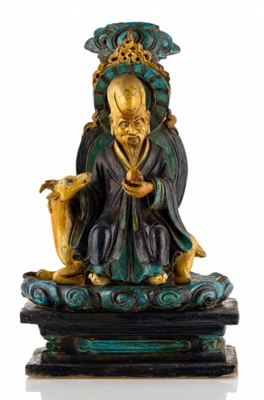 A large Fahua-figure of Shoulao from Earthenware - photo 1