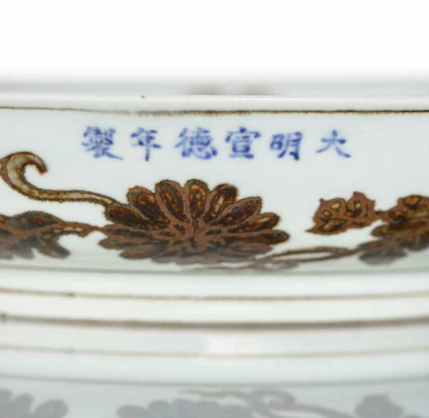 Unusual dish with a decoration of flower branches in iron-brown - photo 2