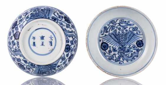 Two small bowls with blue and white Phoenix pattern - photo 1