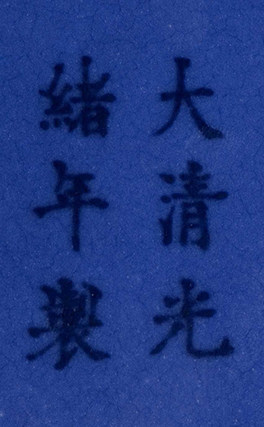 Monochrome blue glazed bottle vase made of porcelain - photo 2