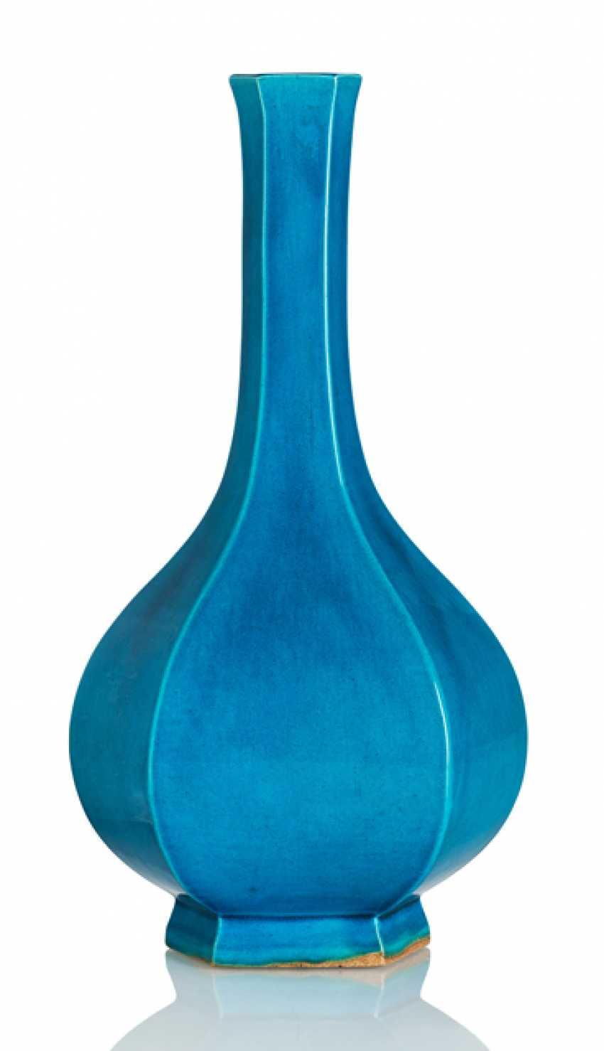 Turquoise glazed hexagonal bottle vase made of porcelain - photo 1