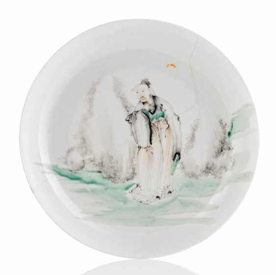 Fine plate with decoration of a scholar from egg-shell porcelain - photo 1