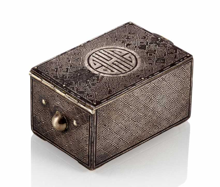 Rectangular Lidded Box Made Of Iron With Silver Inlays And A Symbol