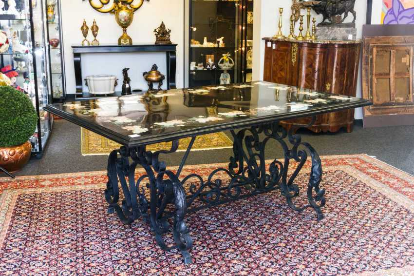 Large TABLE WITH PIETRA-DURA PANEL - photo 1