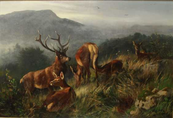 "DEIKER, CARL FRIEDRICH (Wetzlar 1836-1892 Düsseldorf), ""the deer family"" - photo 1"