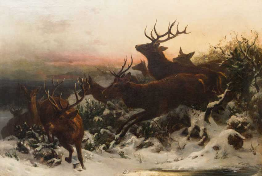 "DEIKER, CARL FRIEDRICH (Wetzlar 1836-1892 Düsseldorf), ""deer flight"" - photo 1"
