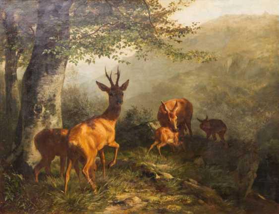 """DEIKER, CARL FRIEDRICH (Wetzlar 1836-1892 Düsseldorf), """"Rehfamilie"""", - photo 1"""