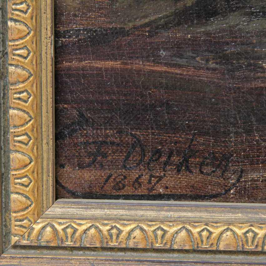 """DEIKER, CARL FRIEDRICH (Wetzlar 1836-1892 Düsseldorf), """"Fox with trophy duck in the reeds"""" - photo 3"""