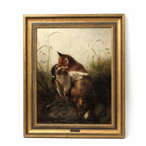 """DEIKER, CARL FRIEDRICH (Wetzlar 1836-1892 Düsseldorf), """"Fox with trophy duck in the reeds"""" - photo 2"""