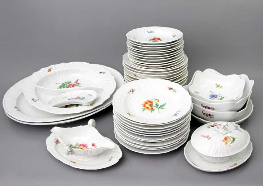 MEISSEN dining service for 12 people German flower colorful', Knauf swords & Pfeiffer time - photo 1