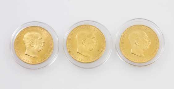 3-piece gold Austria - 3 x 100 crowns 1915/NP, Franz Joseph I, convolute,