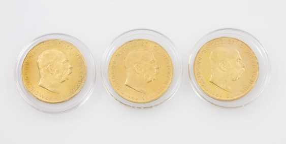 3-piece Gold mixed lot - 3 x 100 crowns 1915/NP, Franz Joseph I. - photo 1