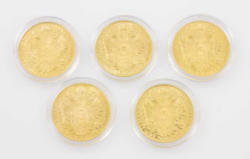 5-piece gold - Austria-5 x 4 ducats 1915/NP, Franz Joseph I. group - photo 2