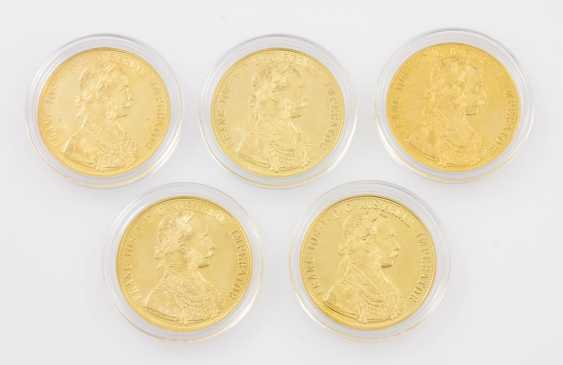 5-piece gold - Austria-5 x 4 ducats 1915/NP, Franz Joseph I. group - photo 1