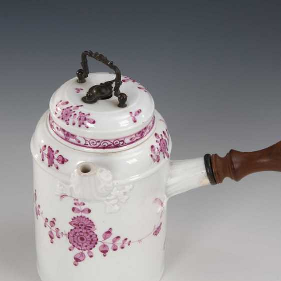 Chocolate pot with purple painting, - photo 2
