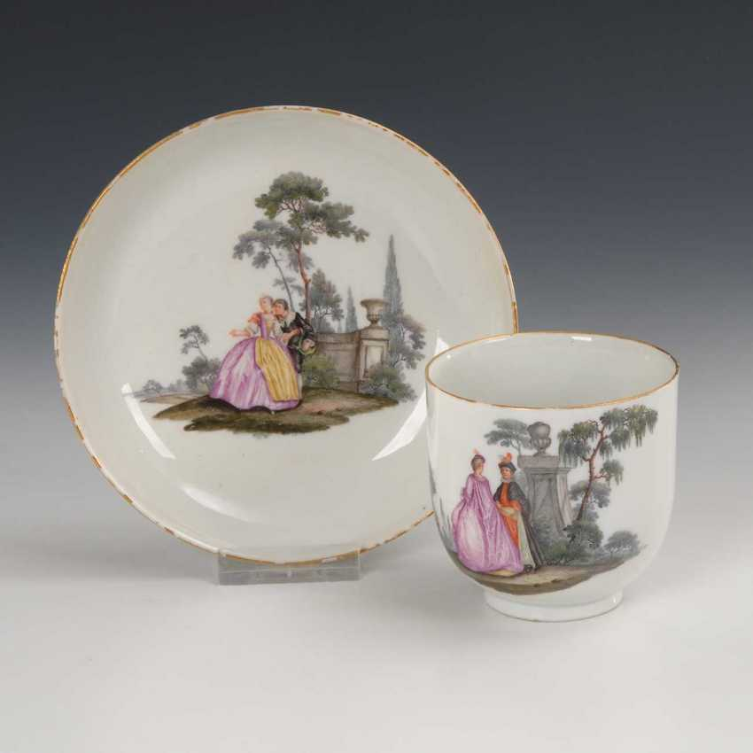 Baroque Cup with Watteau painting, Meiss - photo 1