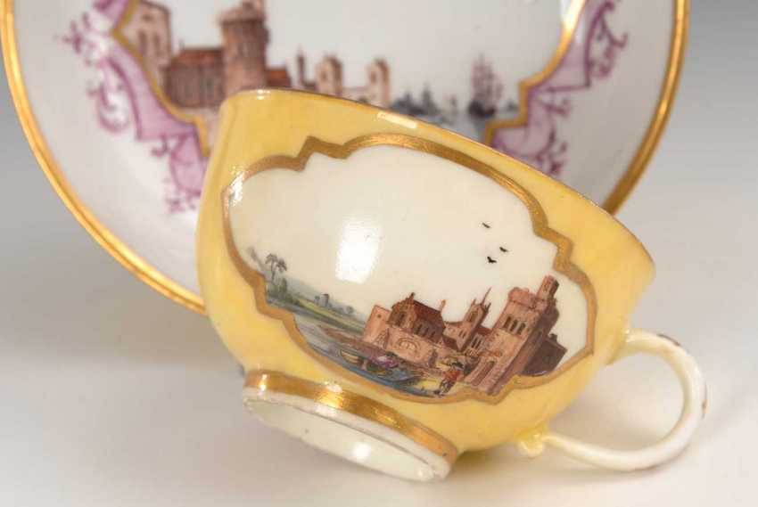 Cup and saucer with kauffahrtei-painting, Meissen. - photo 3
