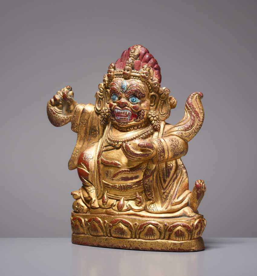 SMALL GILDED BRONZE WITH COLD PAINT OF THE PROTECTION OF GOD MAHAKALA - photo 1