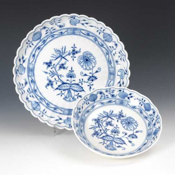 Onion pattern Cup and compartments plate, - photo 1