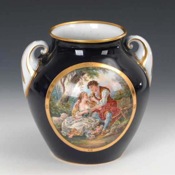 Vase with a Watteau painting, Fraureuth. - photo 1