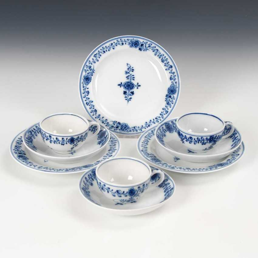 3 place settings with blue painting, Meissen. - photo 1