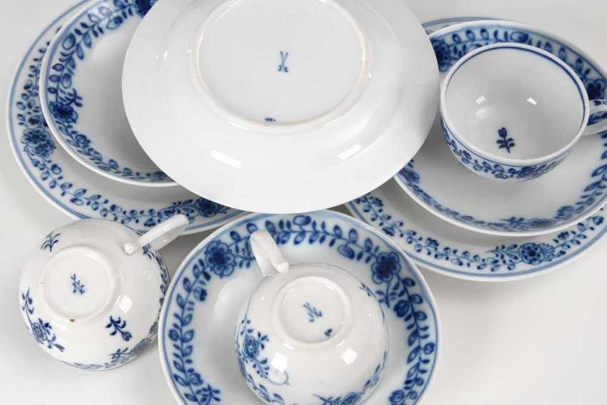 3 place settings with blue painting, Meissen. - photo 2
