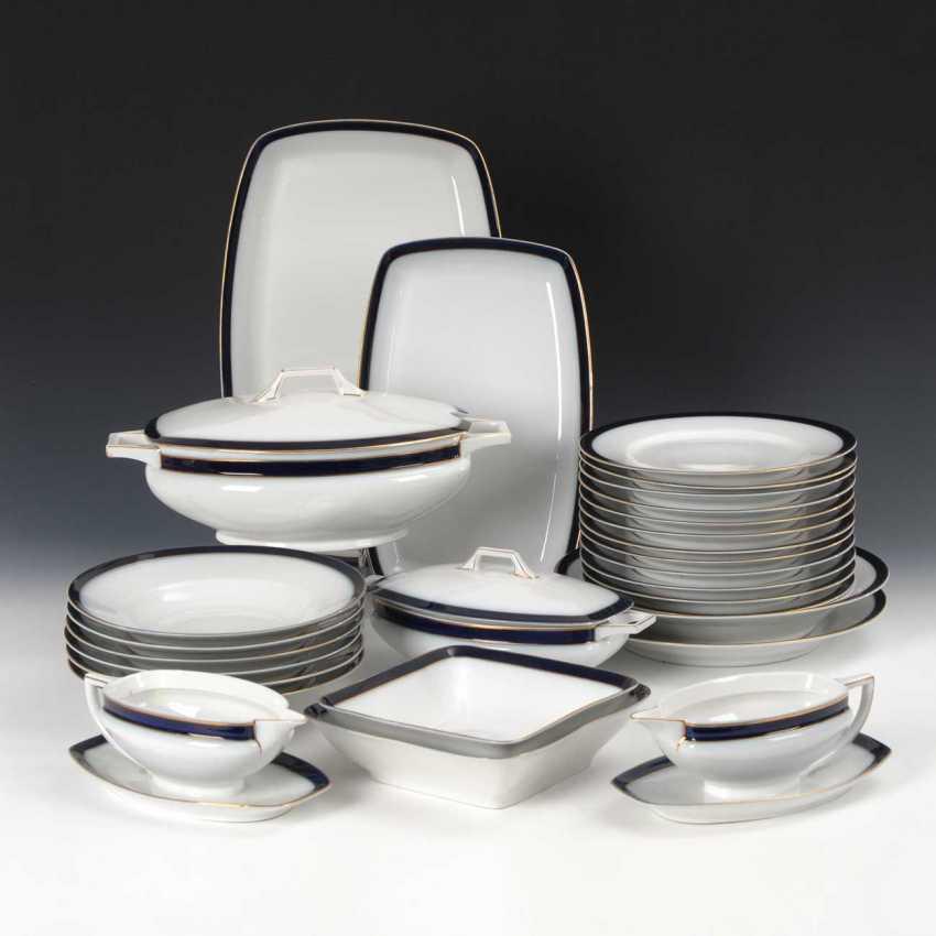 Art Nouveau dinner service with cobalt edge - photo 1
