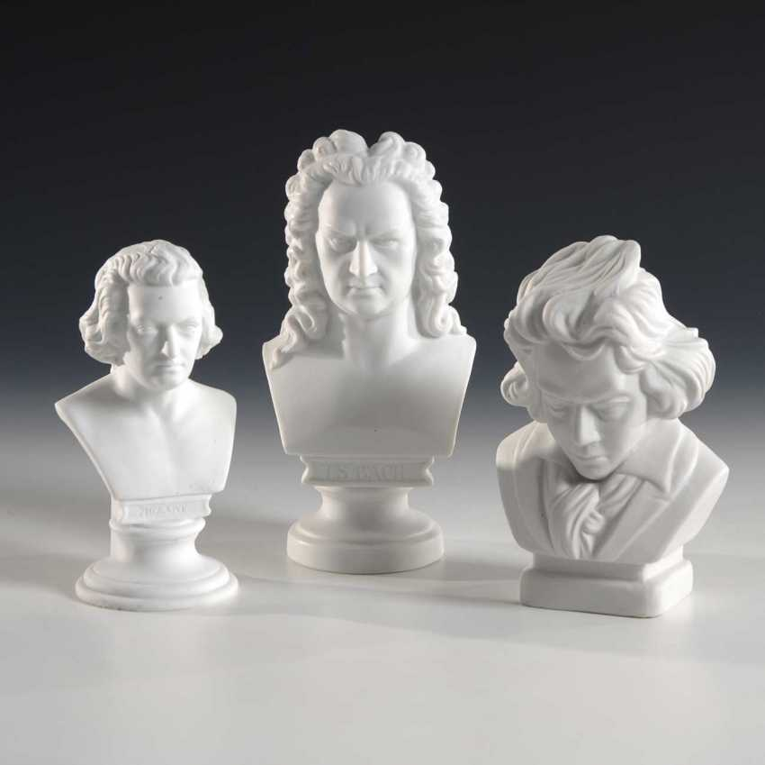3 Music Busts: Bach, Mozart, Beethove - photo 1