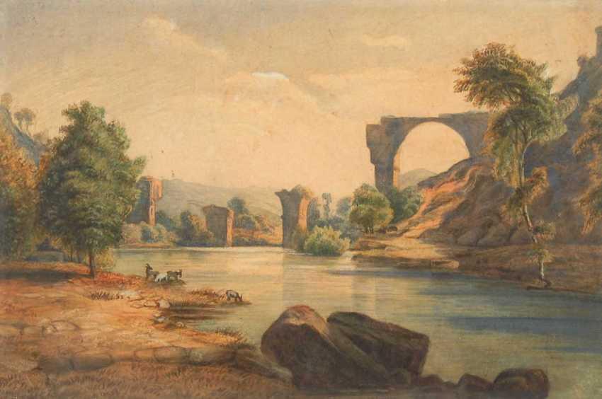 River landscape with bridge at Narni. - photo 1
