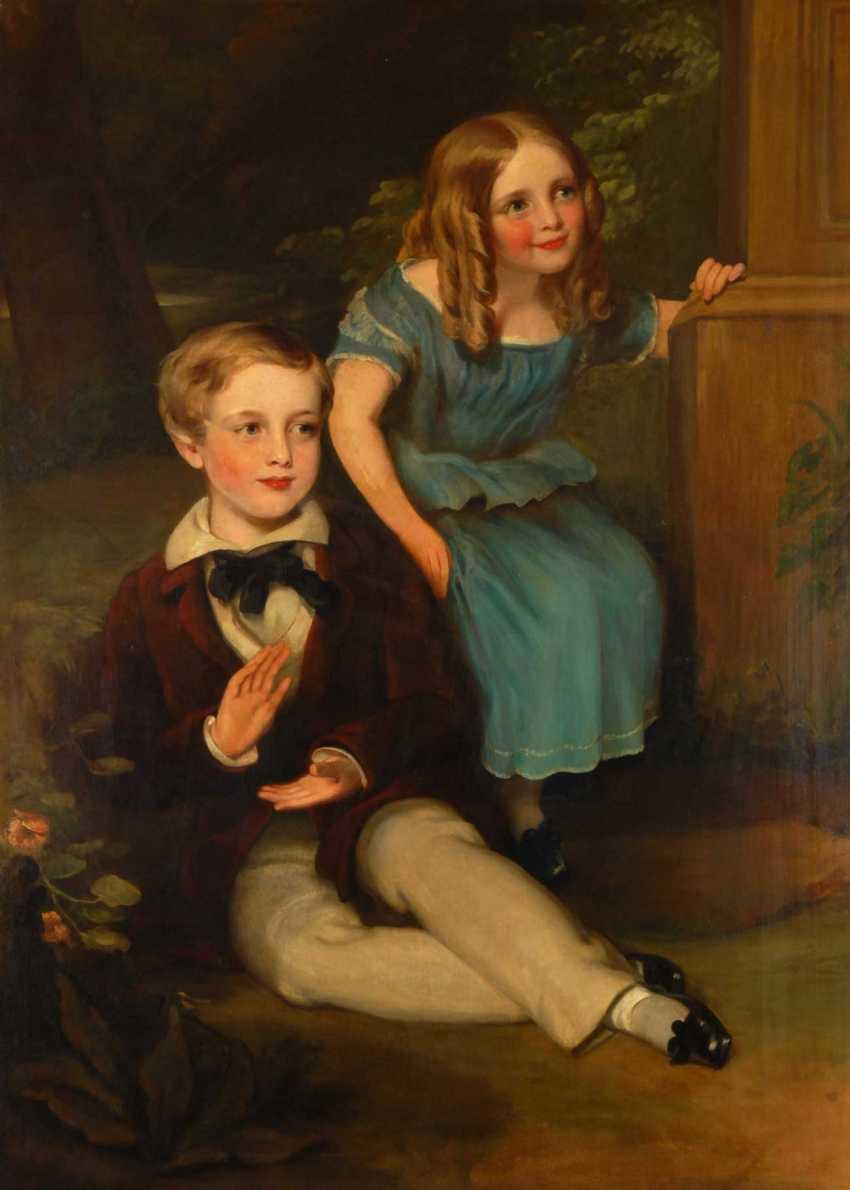 Large Biedermeier Children's Portrait. - photo 1