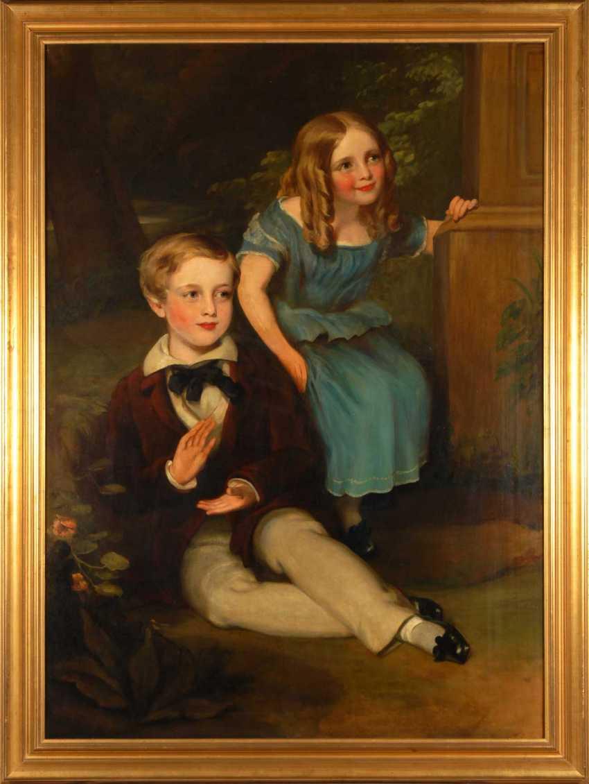 Large Biedermeier Children's Portrait. - photo 3