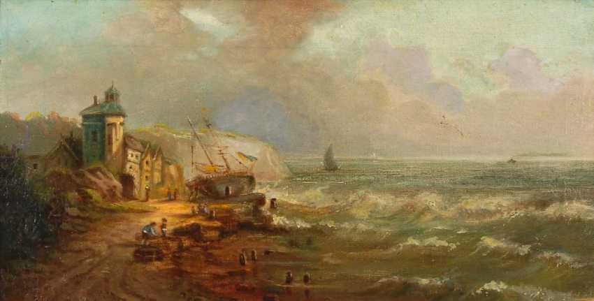 Coastal landscape with fishermen. - photo 1