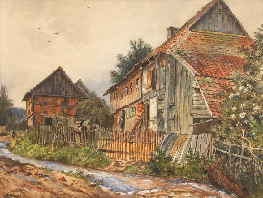 Snow, Hermann: houses on the mountain stream - photo 1
