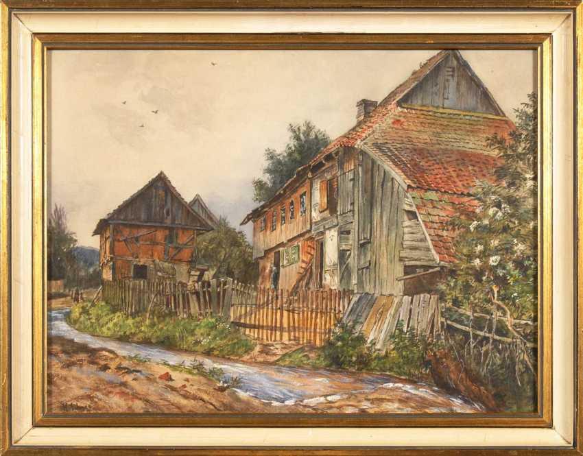 Snow, Hermann: houses on the mountain stream - photo 2