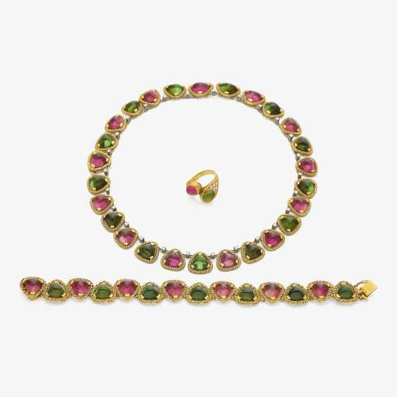 Demi Parure consisting of necklace, bracelet and Ring with tourmalines . Munich, jeweler THEODOR HEIDEN, 1960s-1970s - photo 1