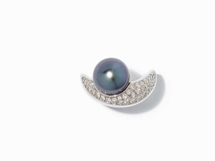 RING WITH TAHITI PEARL AND DIAMONDS. - photo 7