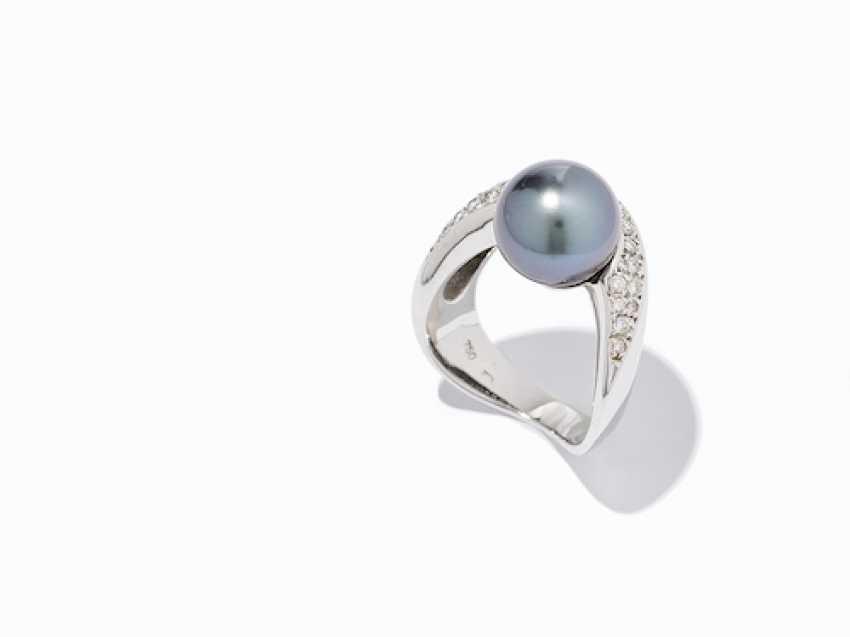 RING WITH TAHITI PEARL AND DIAMONDS. - photo 9