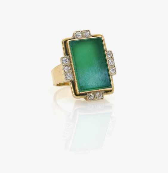 Ring with green agate . Germany, 1950s - photo 1