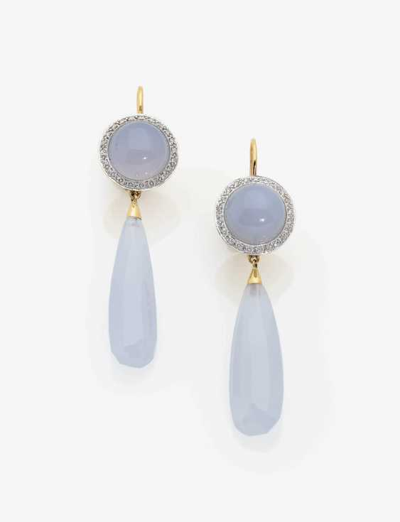 A PAIR OF DROP EARRINGS WITH CHALCEDONY AND DIAMONDS . Japan, MIKIMOTO - photo 1