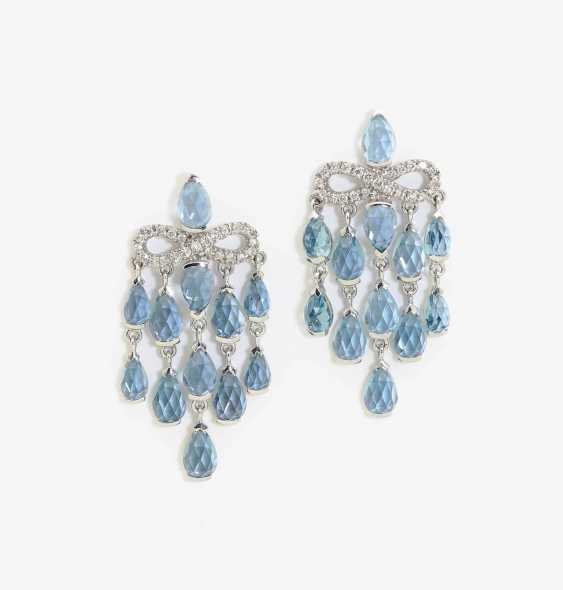 A PAIR OF EARRINGS WITH TOPAZES AND DIAMONDS . Japan, MIKIMOTO - photo 1
