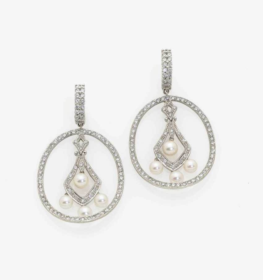 A PAIR OF EARRINGS WITH AKOYA CULTURED PEARLS AND DIAMONDS. - photo 1