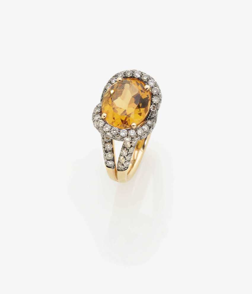 RING WITH CITRINE AND DIAMONDS . Italy - photo 1